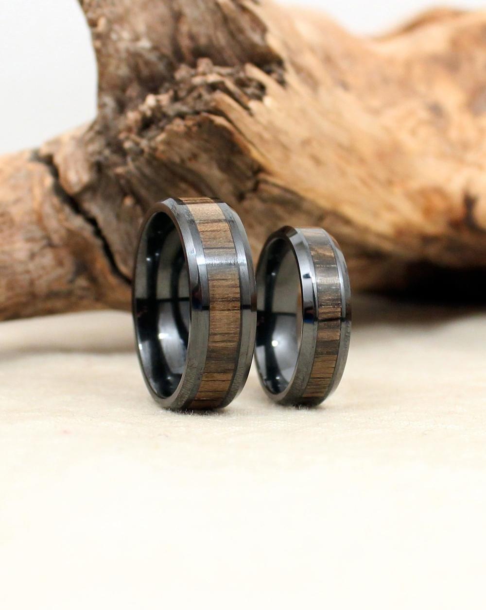 Ancient Russian Bog Oak and Black Ceramic Ring