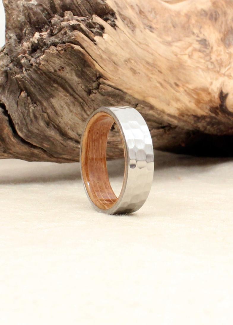 Hammered Cobalt and Whiskey Barrel Oak Wood Ring