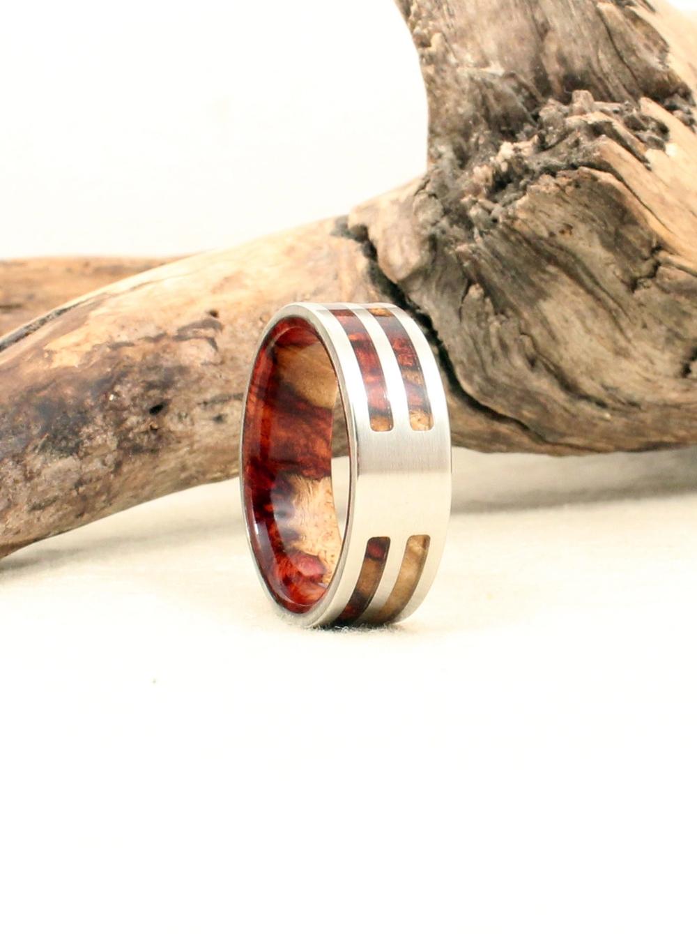 Amboyna Burl and Cobalt Wood Ring