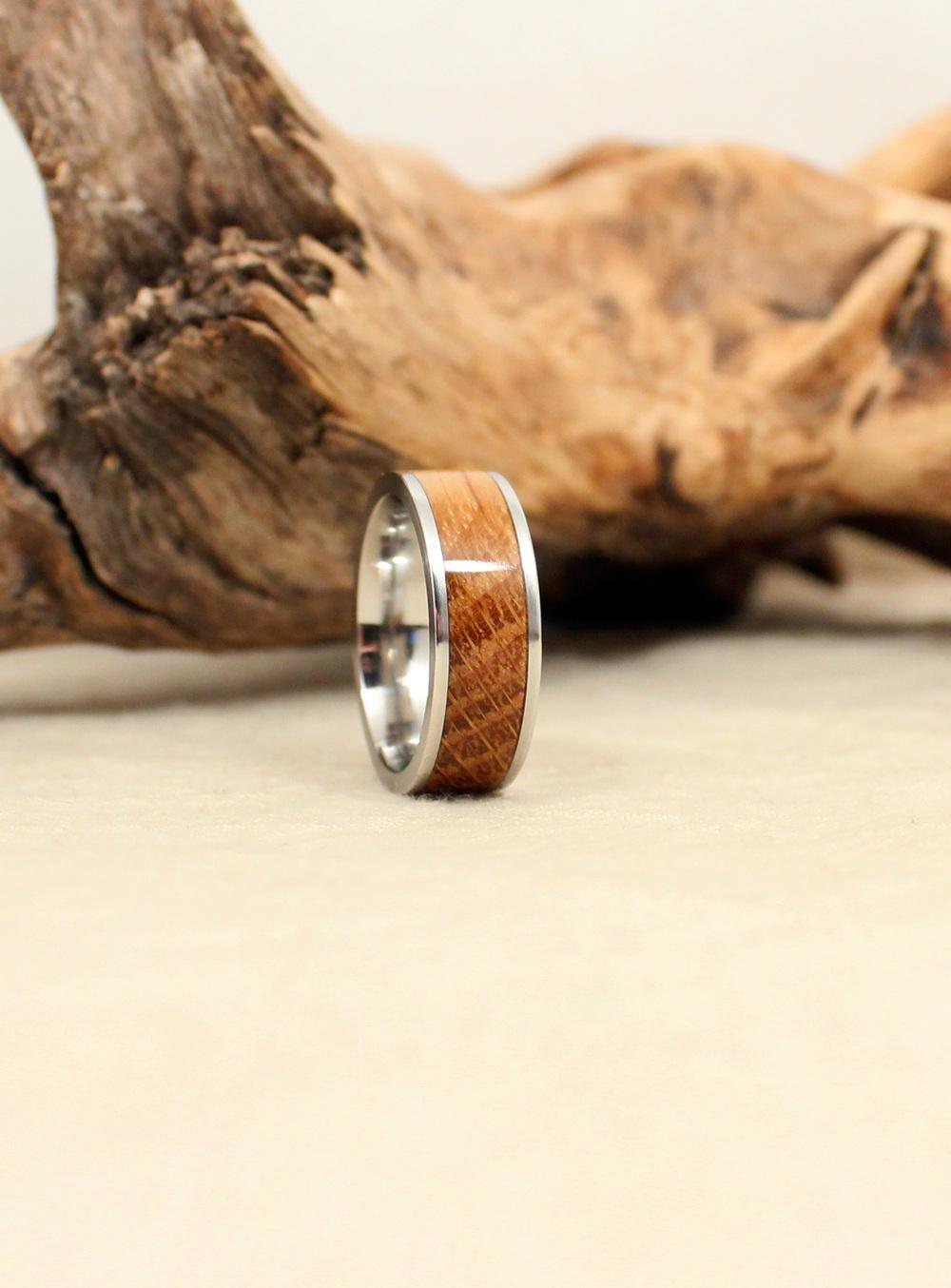 Cobalt and Bourbon Barrel White Oak Wooden Ring