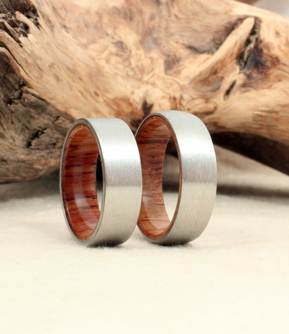 A pair of Angel's Envy Bourbon (sherry cask finished) barrel oak wedding bands