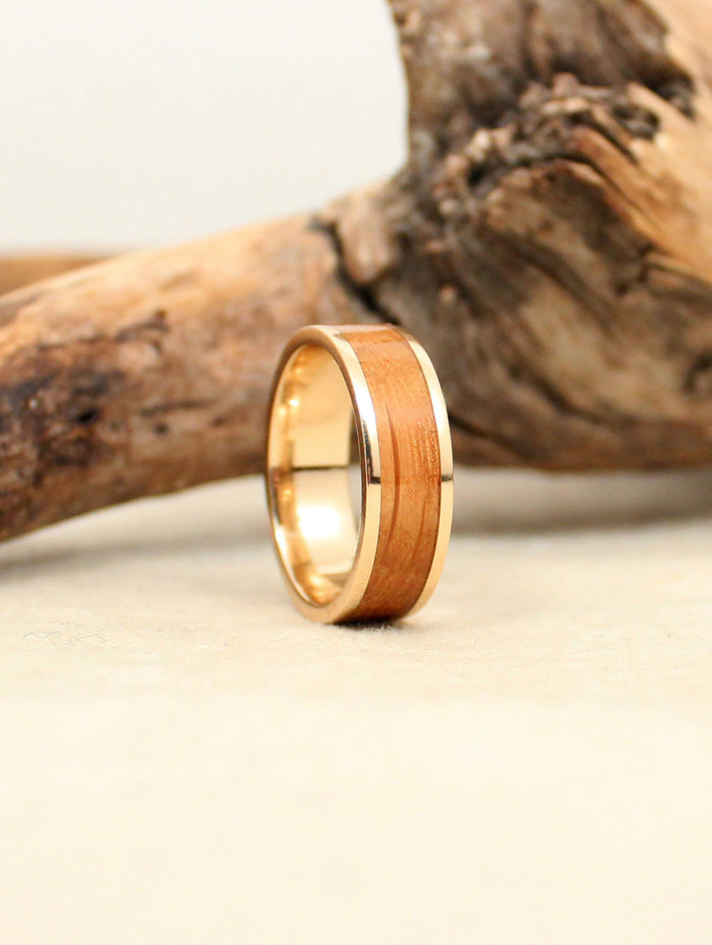 Whiskey Barrel White Oak Lined with Gold WedgeWood Rings