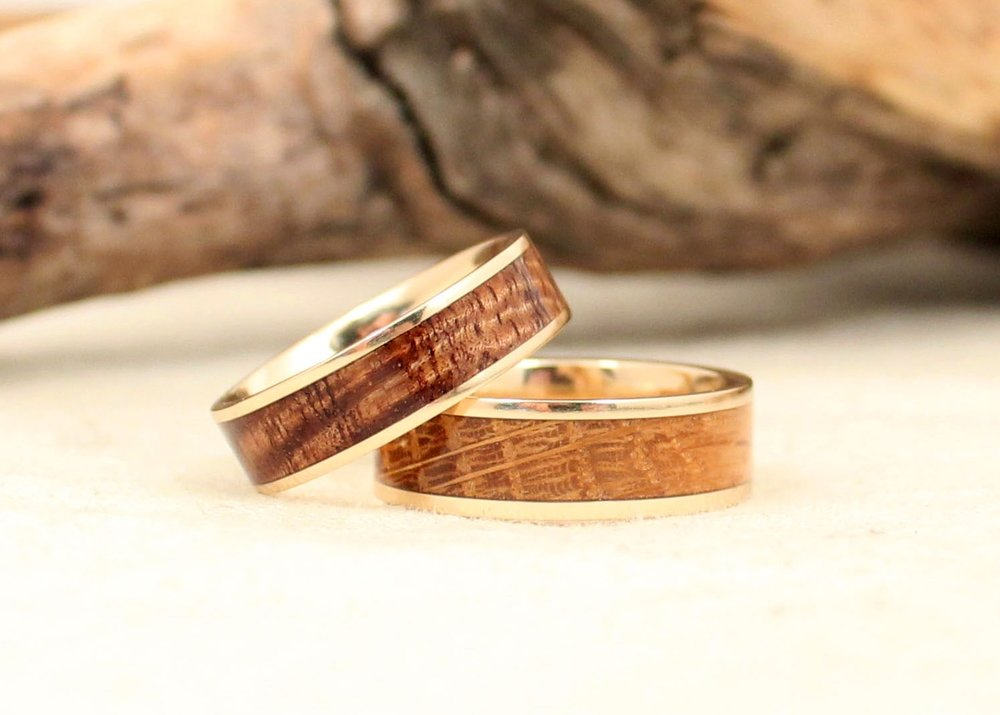 14k Gold and Hawaiian Koa and 14k Gold and Woodford Reserve Barrel Oak