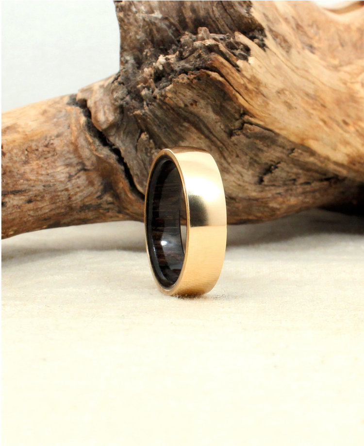 Gold And Ancient Bog Oak Wooden Ring Wedgewood Rings