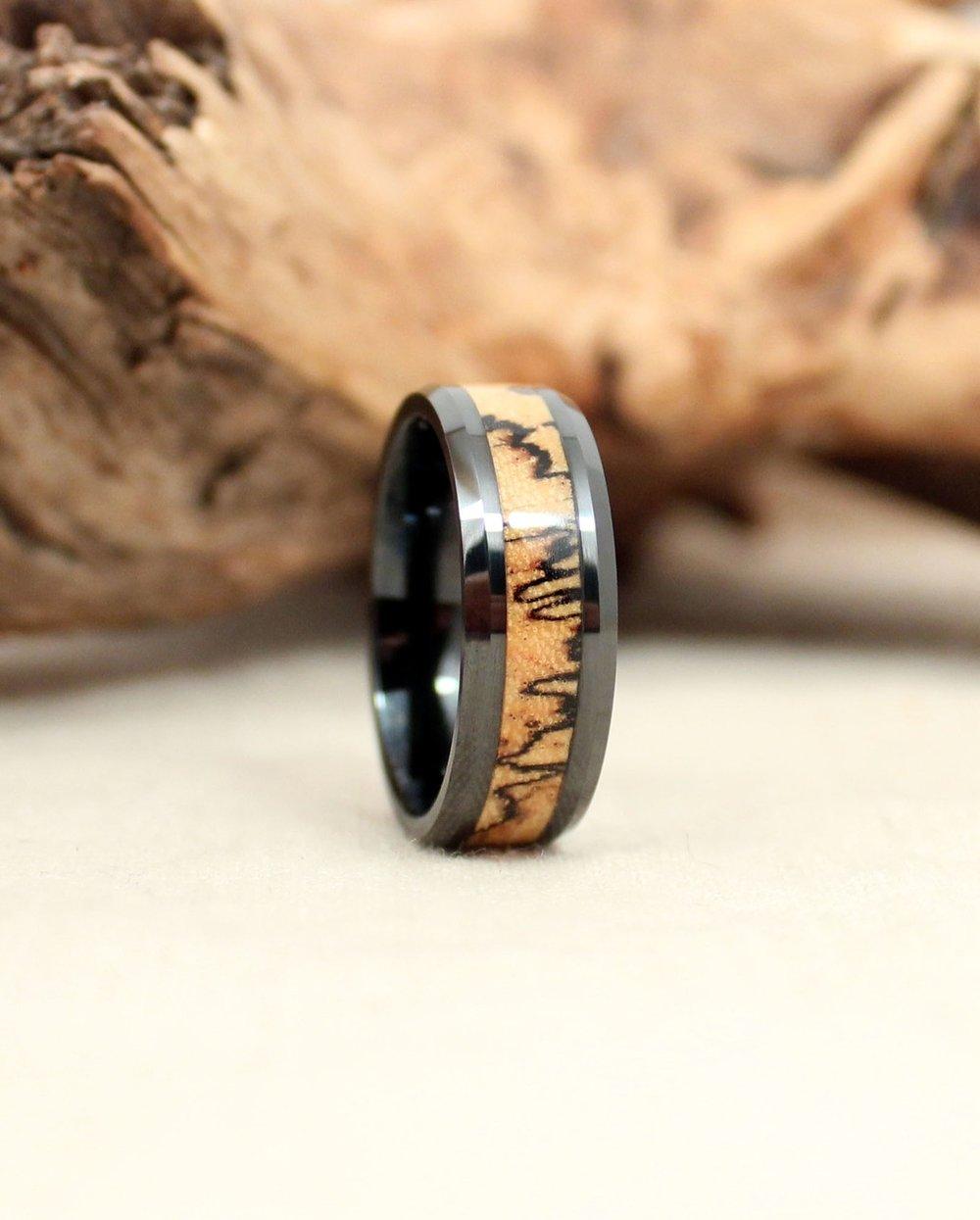 Spalted Tamarind and Black Ceramic Wood Ring