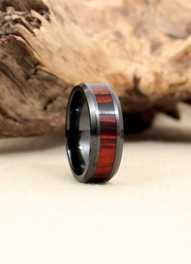 Mexican Cocobolo and Black Ceramic Wood Ring