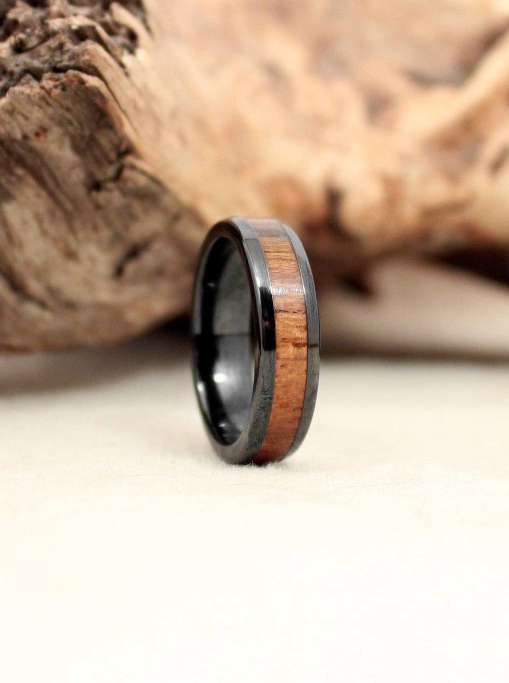 USS North Carolina Deck Teak and Black Ceramic Wooden Ring