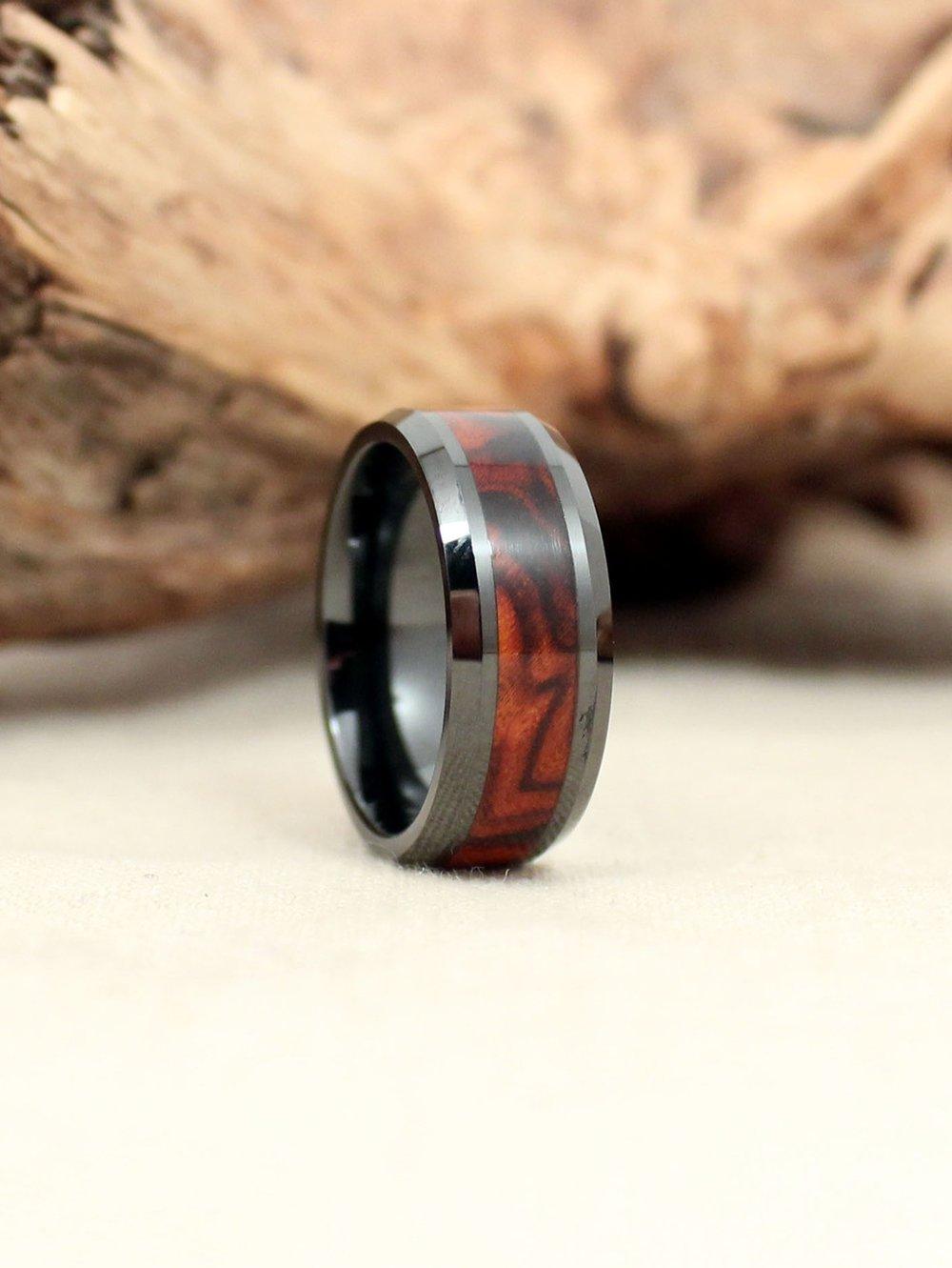 Exhibition Grade Arizona Desert Ironwood Burl and Black Ceramic Wood Ring