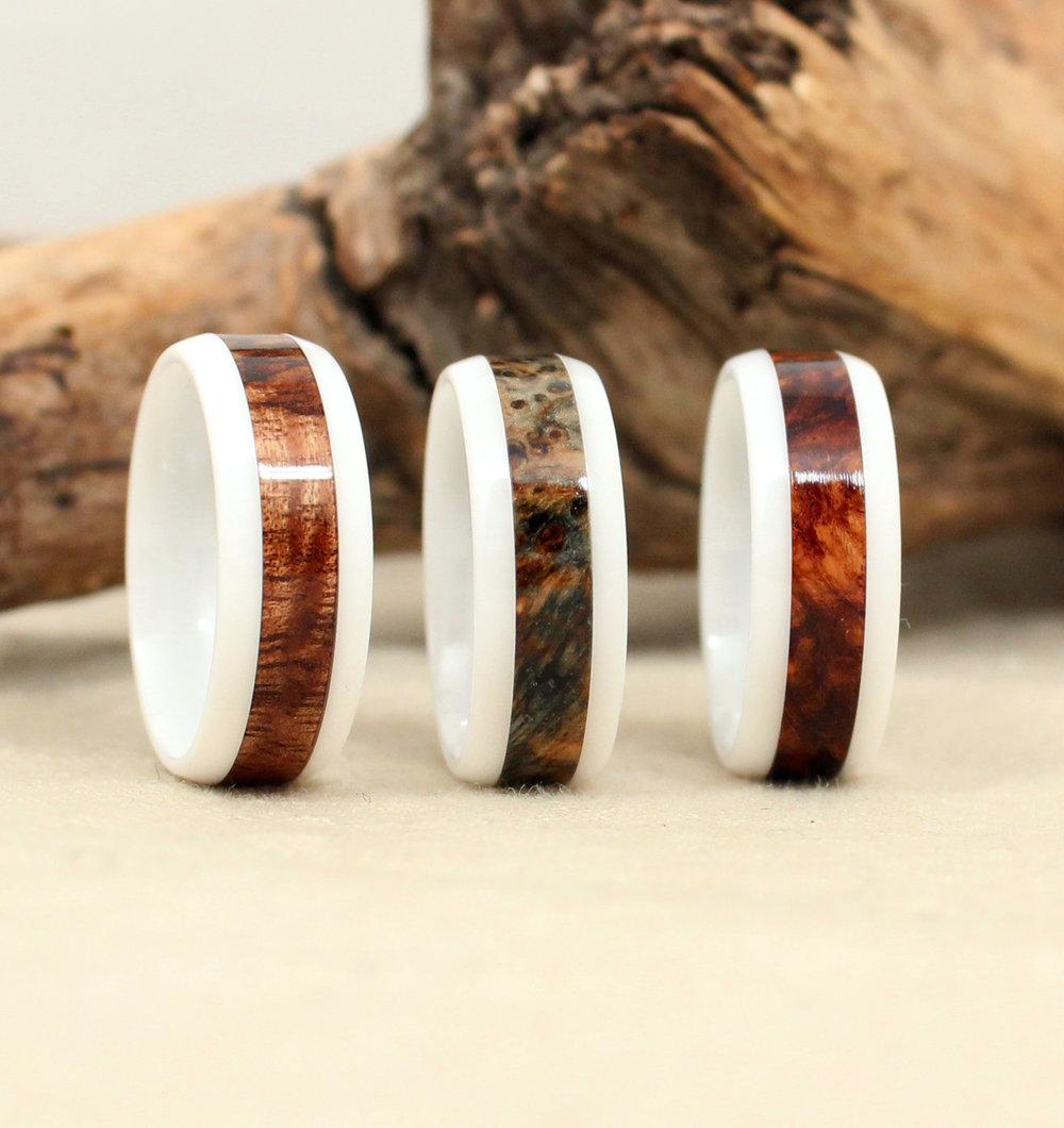 White Ceramic Wood Rings