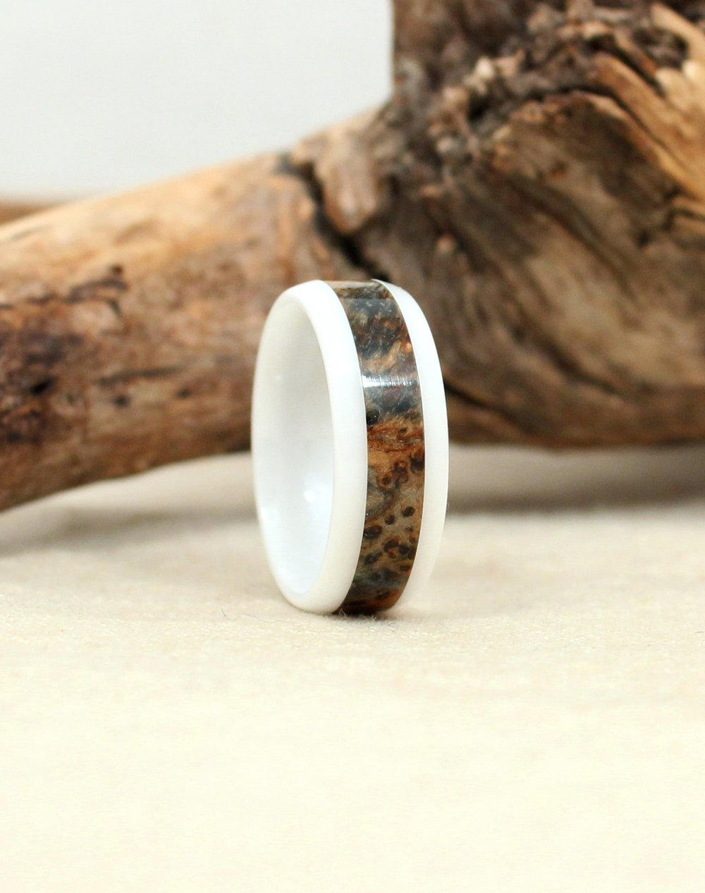 Blue Stabilized Black Ash Burl and White Ceramic Wood Ring
