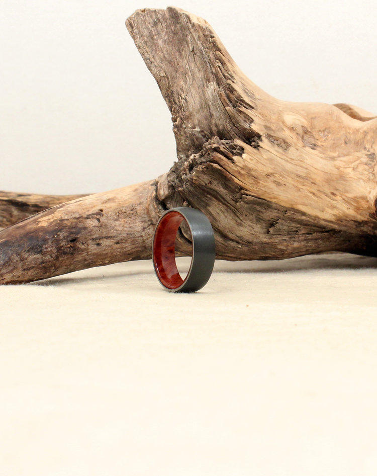 Size 8 5 Black Zirconium Lined With California Redwood Burl Wood