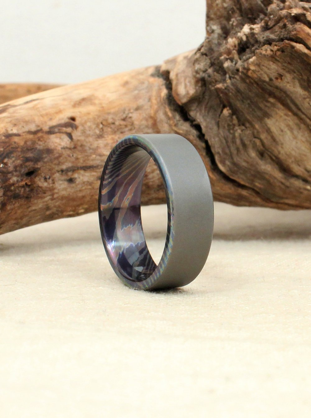 Damascus Titanium MokumeTi Ring WedgeWood Rings