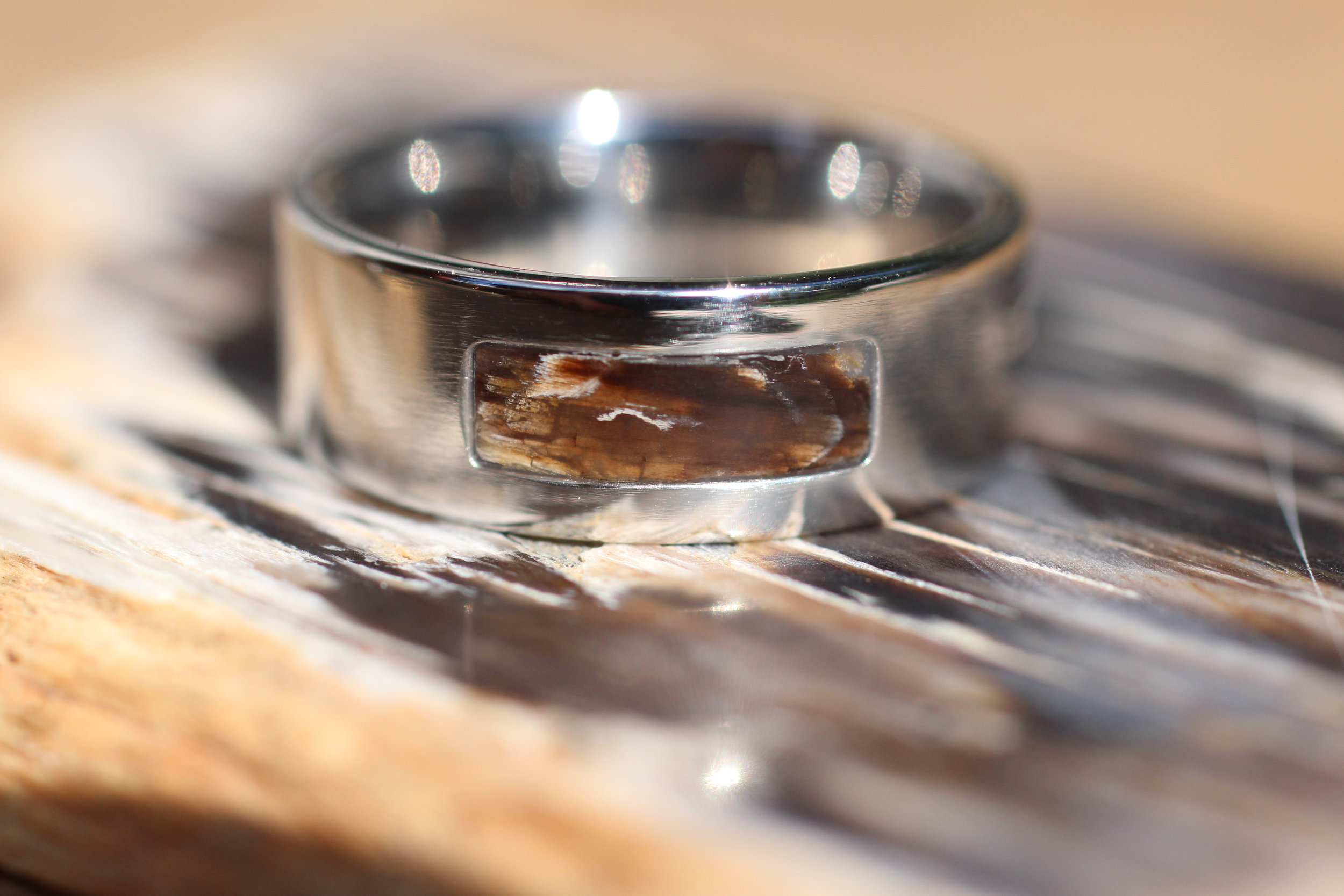 wood rae engagement finish hammered wedding jewelry petrified titanium las band dianna beautiful cypress rings