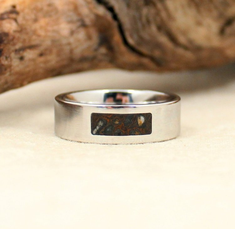 blue rings and bone ringblue shavings band dinosaur meteorite wedding ring titanium stardust media bandmeteorite