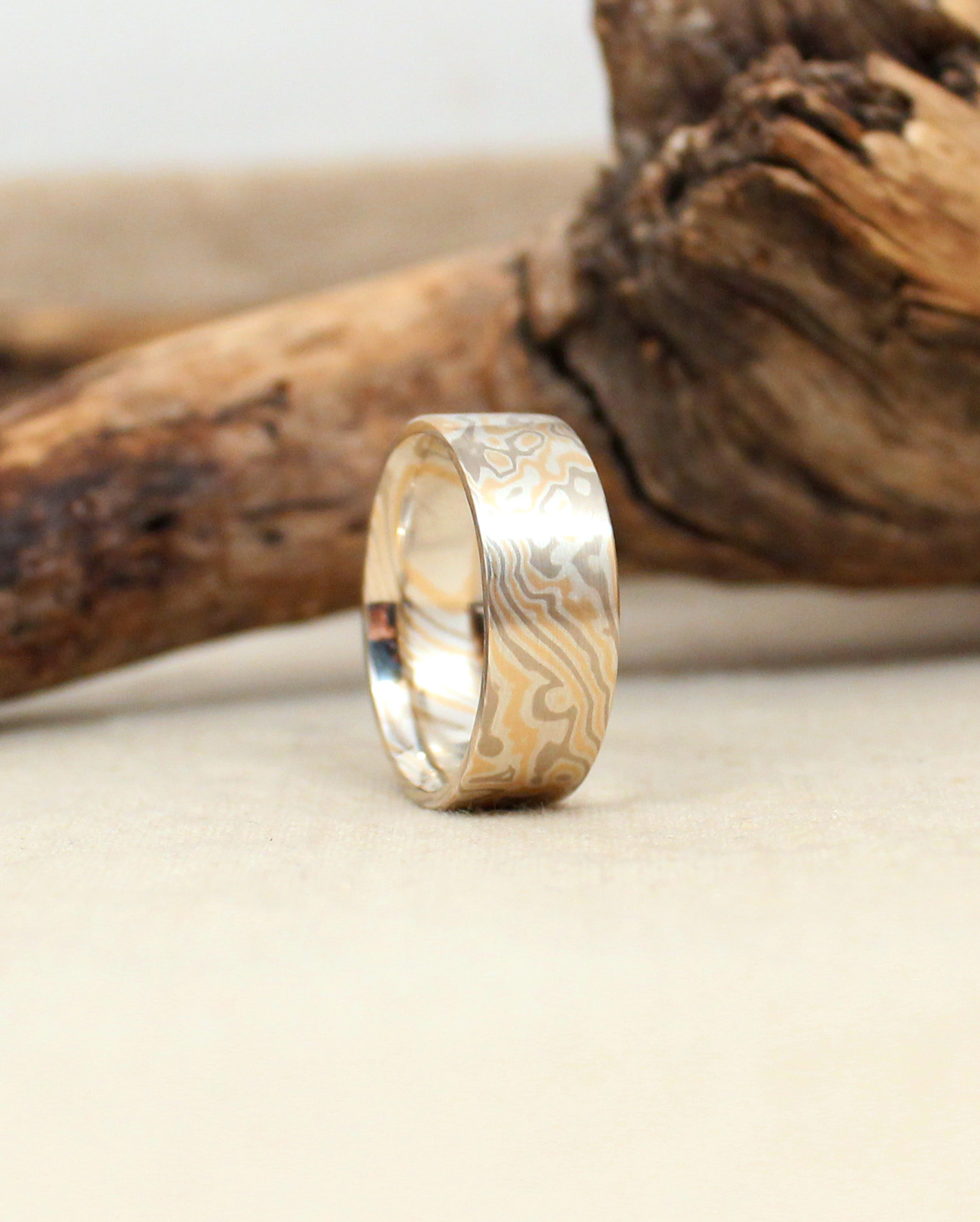 sterling wedding trigold gane ring unique wide silver and rings band woodgrain mokume products metal