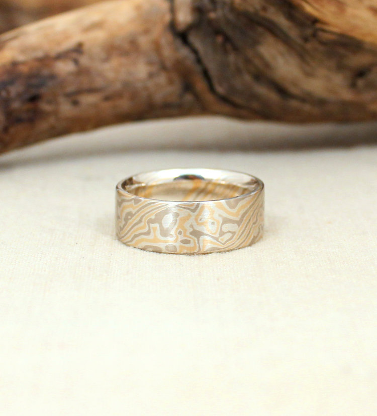 burl gold grande mokume of dark wedding products with titanium copy rings square zirconium liner domed black wood rose band and