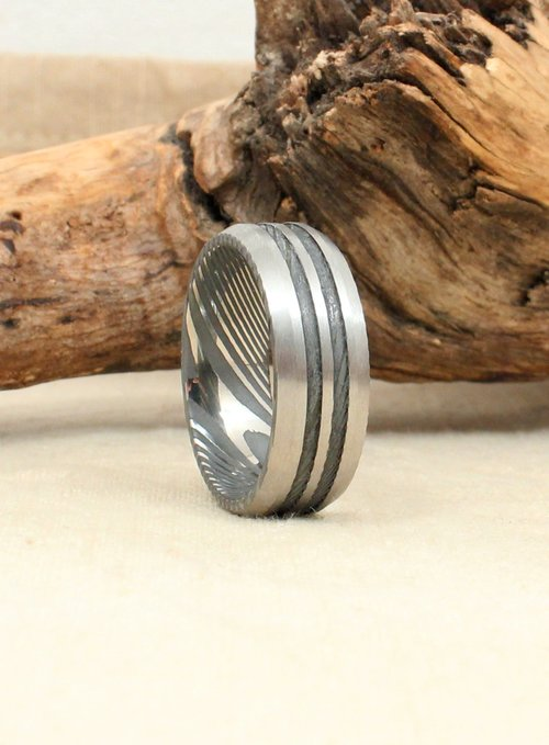 Beveled Double Channel Damascus Steel Ring