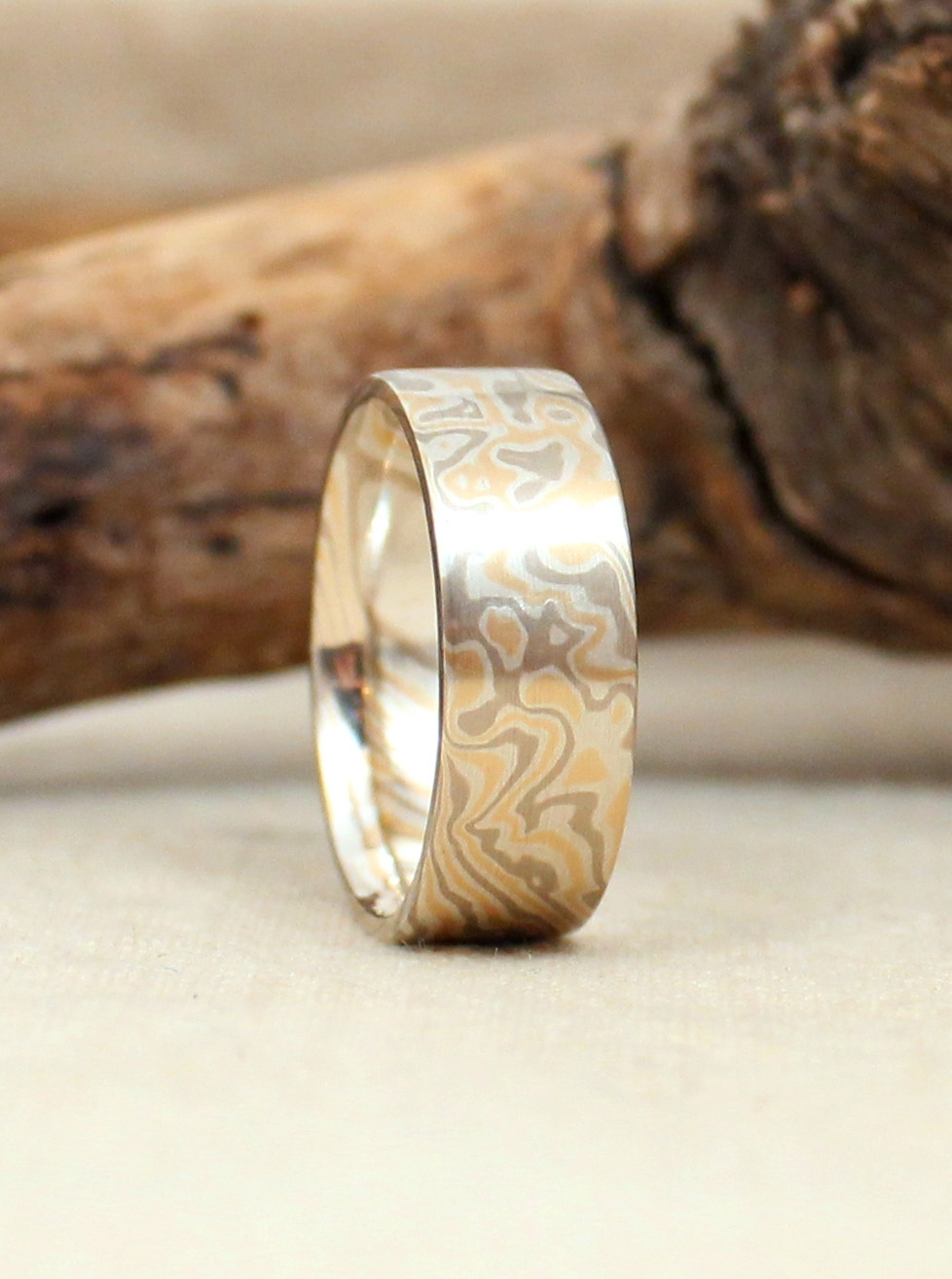 Yellow Gold, White Gold, and Sterling Silver Mokume Gane Wedding Band