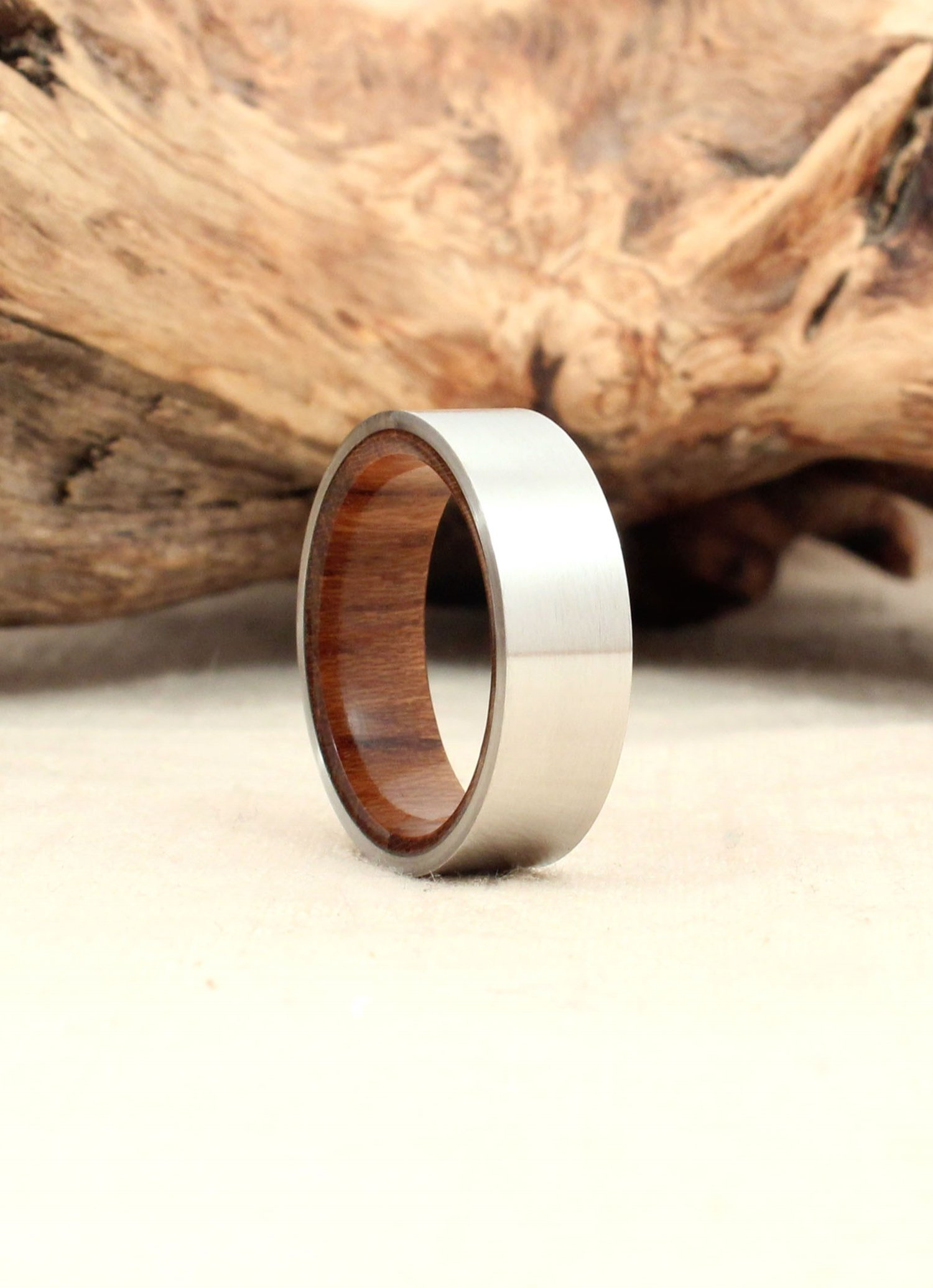 inlaid steel gift rings size brown men jewelry stainless couple us birthday ring teak