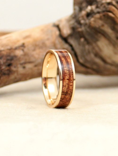 Hawaiian Koa Lined With Gold Wedgewood Rings
