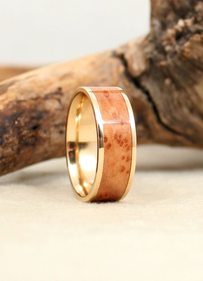 California Redwood Burl Lined with Gold WedgeWood Rings