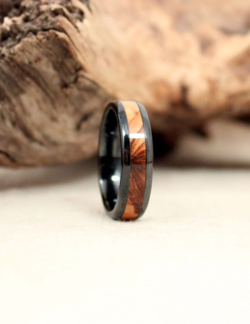 rings products black real mens koa the wood band northernroyal ring ceramic made wedding with barrel