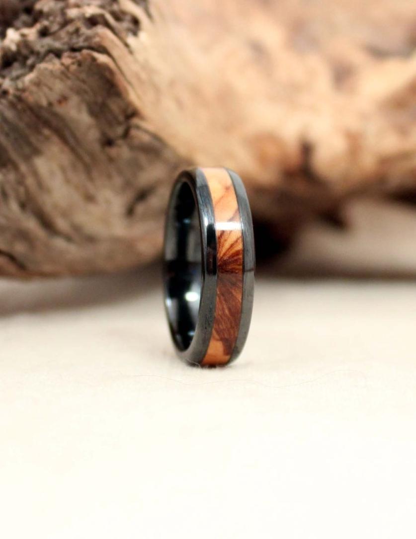Wood Metal and Stone WedgeWood Rings