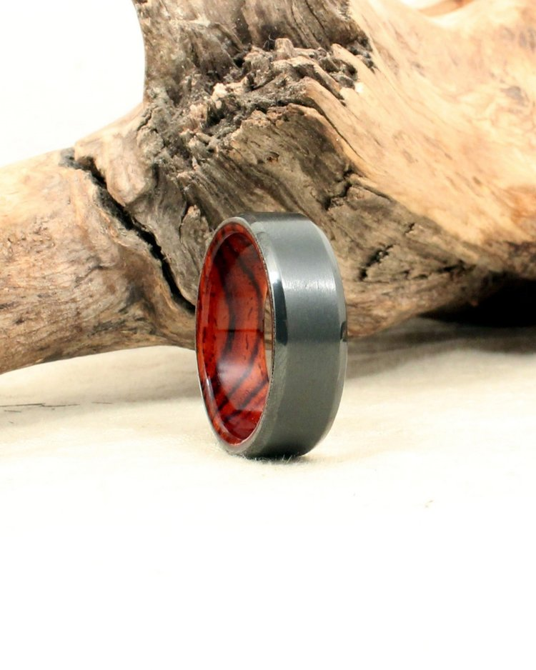 band fairbanks with ring rings unique kodiak wooden men rosewood products wedding tungsten s inlaid inlay wood beveled mens carbide
