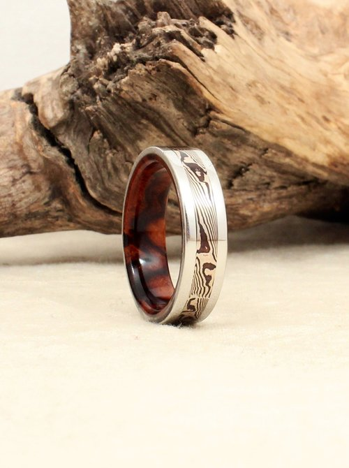 mokume shakudo burl ring rings wood gane mokum etched silver oxidized flat band topped inner sterling burlwood catalog and