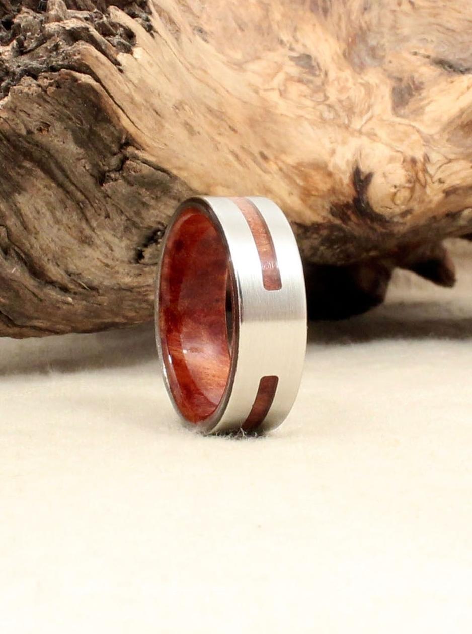 California Redwood Burl and Cobalt Wood IntExt Ring WedgeWood Rings