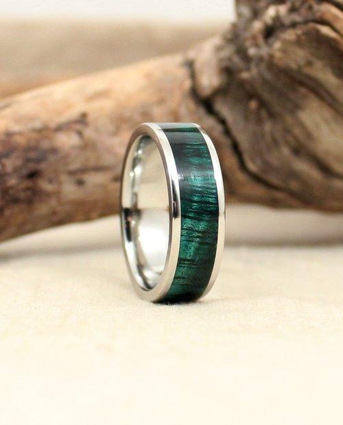 koa wood wedding band green wedgewood cobalt - Wood Wedding Ring