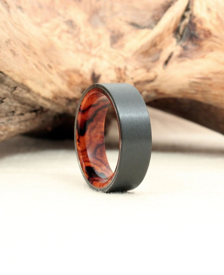 Arizona Desert Ironwood Burl and Black Zirconium Wooden Ring