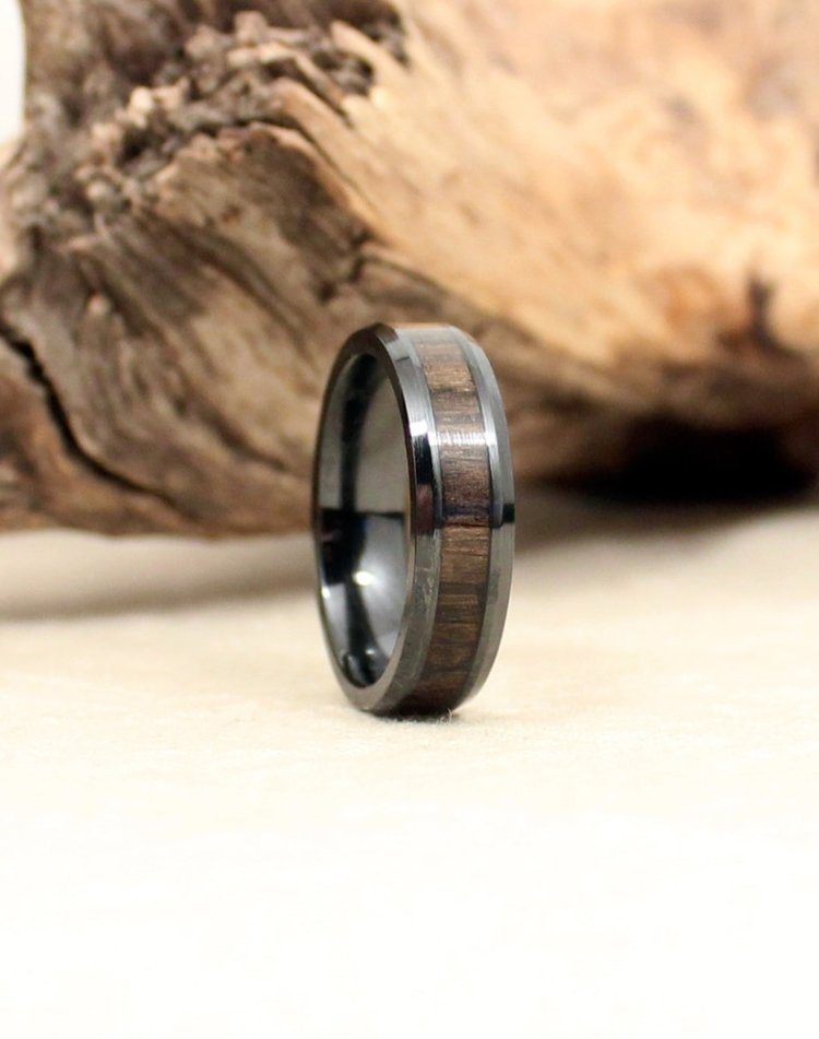 Black Ceramic Ring with Ancient Russian Bog Oak