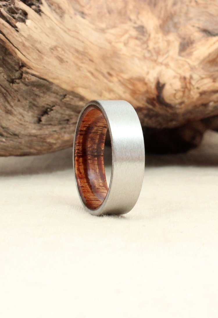 Koa and Cobalt Wood Ring