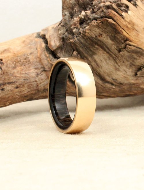 gold and ancient bog oak wooden ring - Wooden Wedding Ring