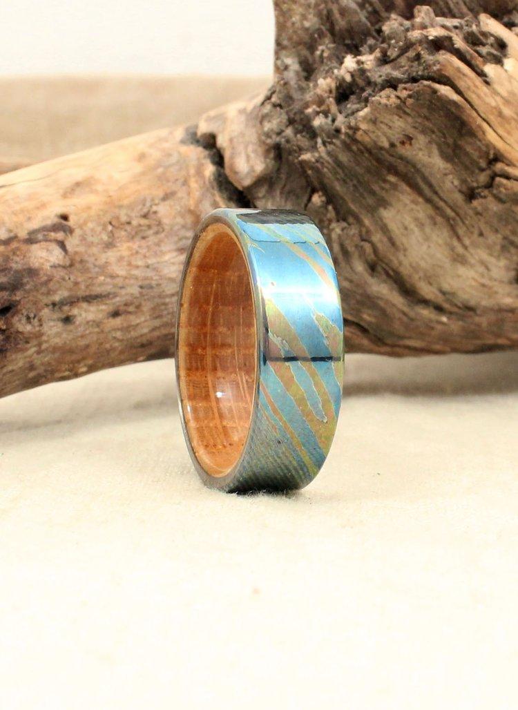 Damascus Titanium Mokume-Ti Whiskey Barrel Oak Ring
