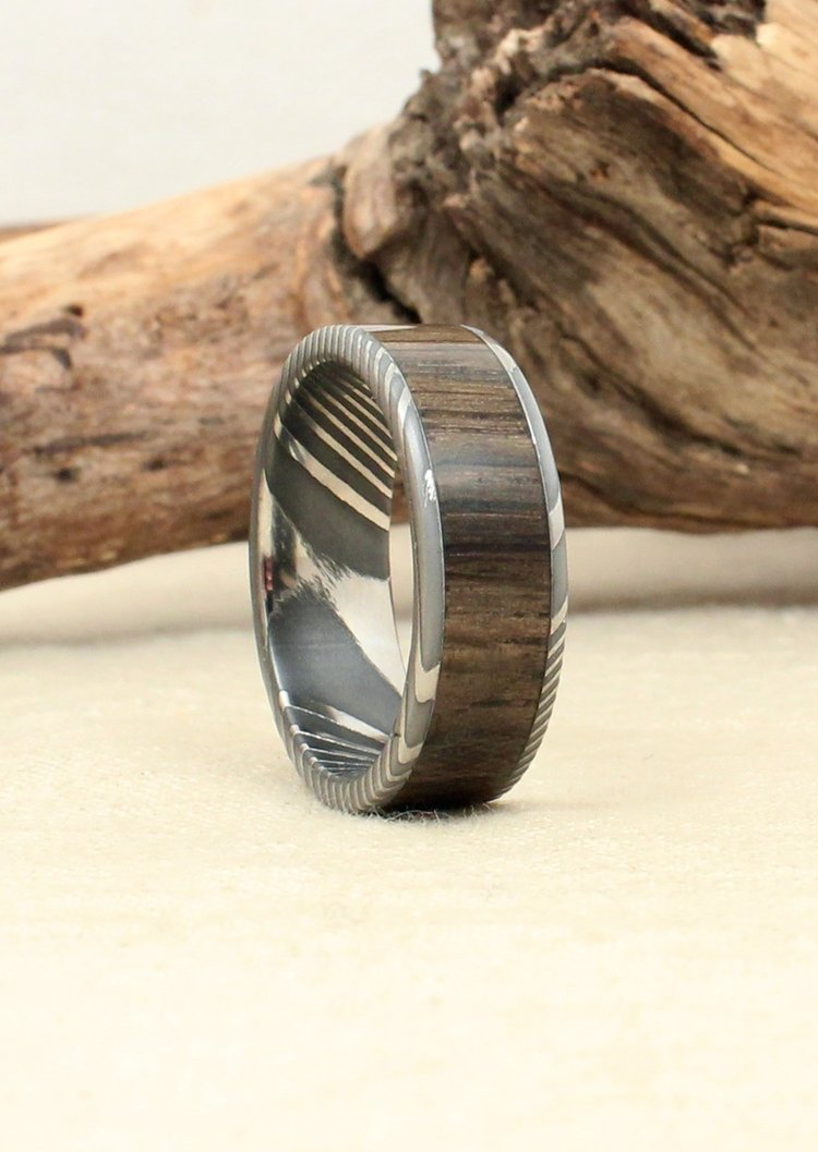 Hand-wrought Twisted Damascus Steel and Bog Oak Wood Ring