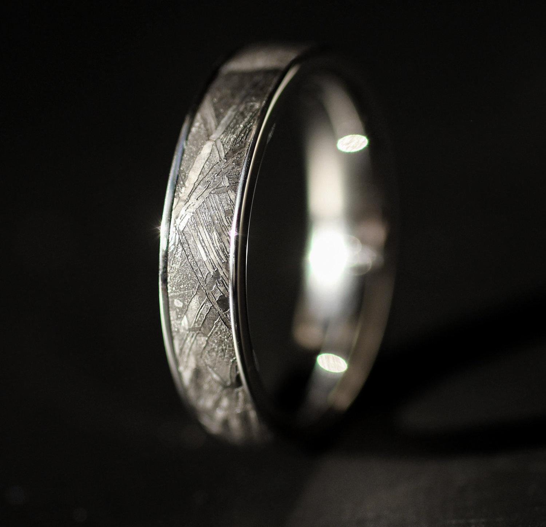 6aea362dc1395 Gibeon Meteorite Inlay Cobalt Ring — WedgeWood Rings