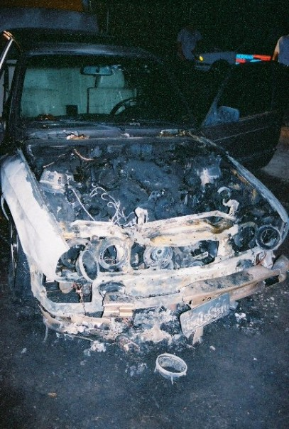Norma Jean's poor torched engine.