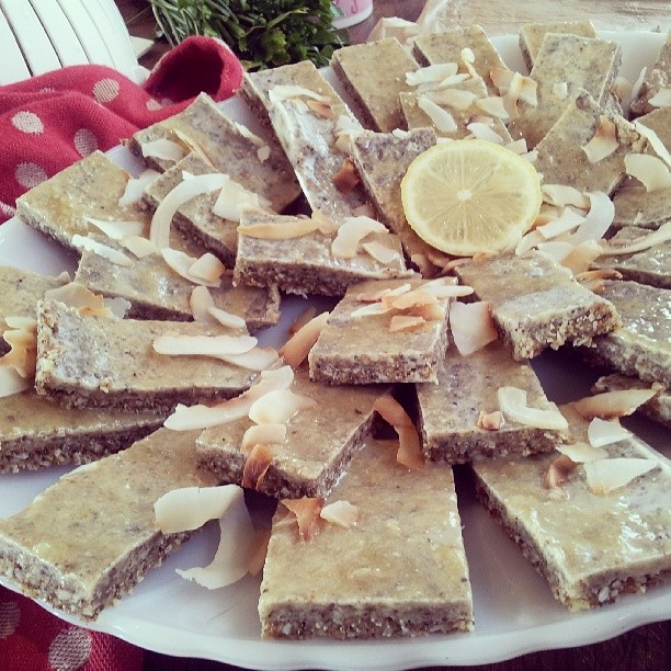 Todays #afternoontea was a #lemonchia slice. Totally #anticandidadiet safe.