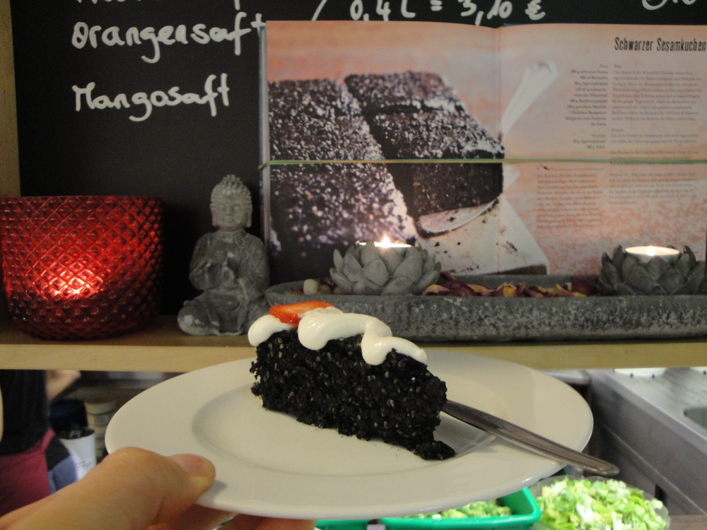 Black sesame cake from the vegan cookbook: Surdham's Kitchen