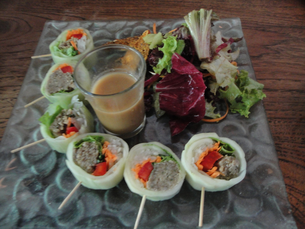Raw cucumber rolls with sunflower seed pate.