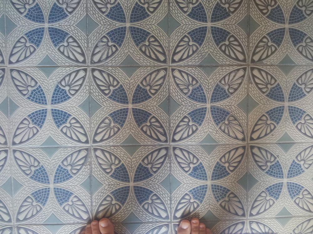 120 year old tiles in the bathroom of the Villa Parkschlössl
