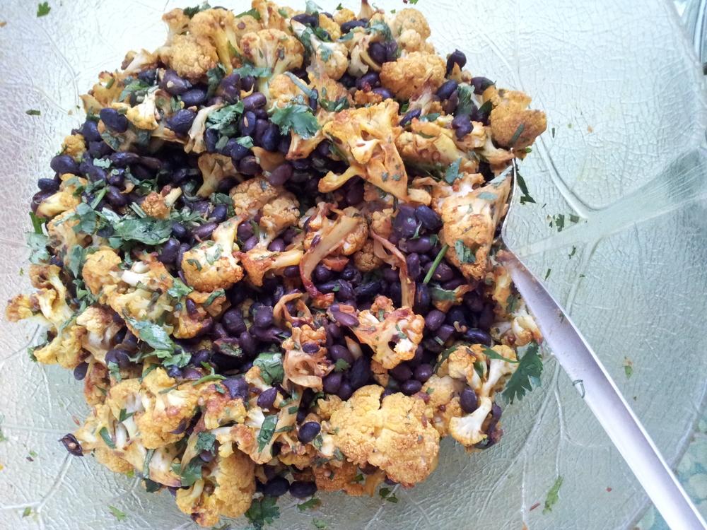 Cauliflower black bean salad with coriander