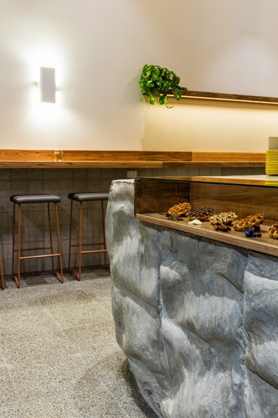 Concrete waffle display counter