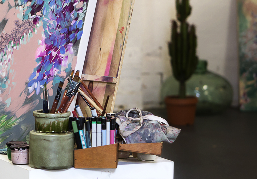 detail of studio of Amy Wright artist photo by Sarah Anderson