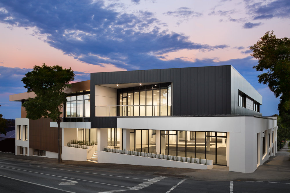 Dusk_Photograph_of_High_Street_Commercial_Project_for_Nook_Architecture_Laney_Constructions