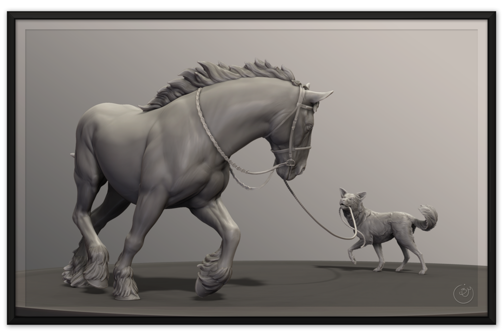 Horse and Dog Sculpture — This Land is Digital