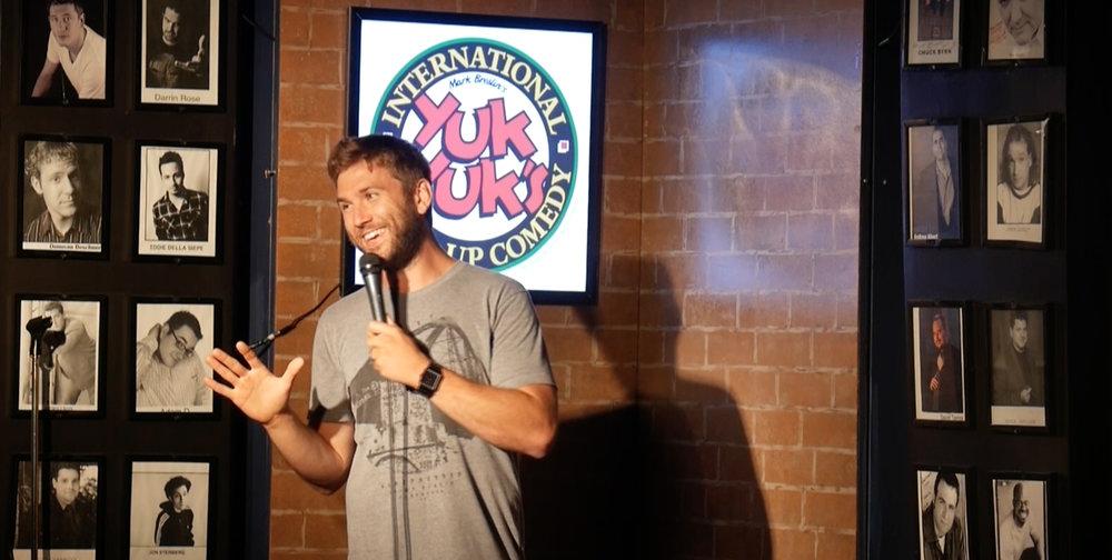 Myles headlining the Halifax Yuk Yuk's comedy club.