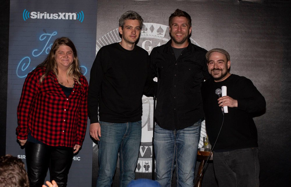 Comedians (L to R) Brittney Lyseng, Mark Debonis & Myles Morrison with Canada Laughs host & comedian Ben Miner at the SiriusXM Canada's Top Comic 2018.